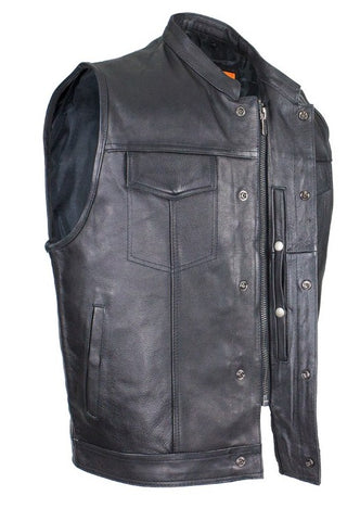 Mens Biker Riding Patch Holder 7 Pocket leather vest with High zipper
