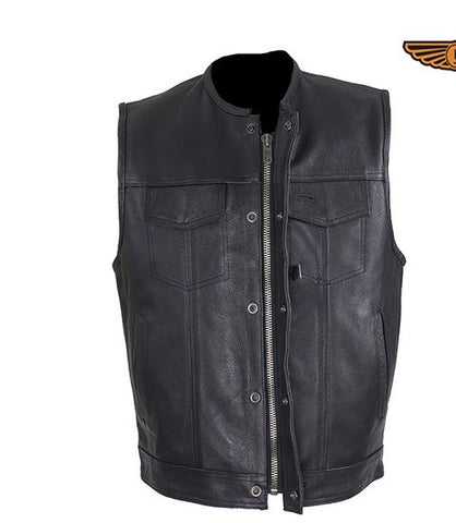 "Men's Riding Son of Anarchy Motorcycle Club 1/2"" Collarless 8 pocket Leather Vest"