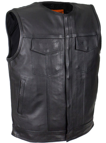 Men's Son of Anarchy Motorcycle Club Collarless Leather Vest with 2 Gun pockets