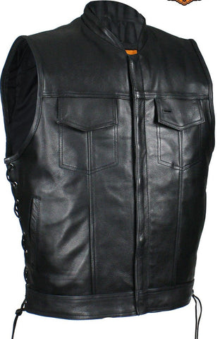 Men's Riding son of anarcy leather vest with side laces big sizes upto 7xl