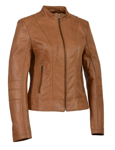 Women's butter soft lamb skin leather with stand up collar scuba jacket