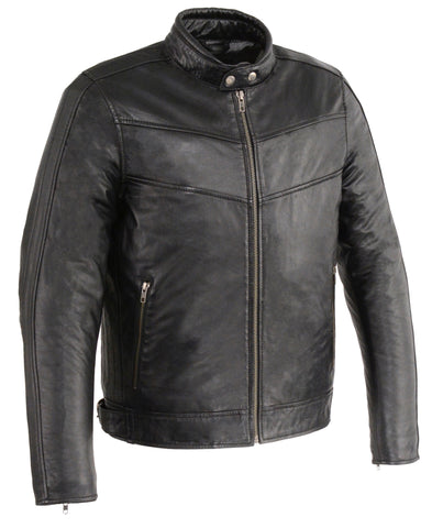Men's Chinese collar Front zipper leather jacket with side buckles soft leather