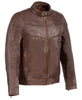 Men's Chinese collar Front zipper Brown leather jacket with side buckles soft leather