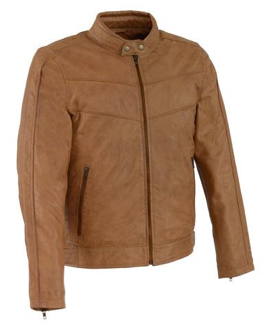 Men's Chinese collar Front zipper Tan Honey leather jacket with side buckles