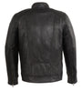Men's Blk front zipper motto butter soft leather jacket