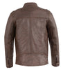 Men's Brown front zipper Chinese collar stand up leather jacket butter soft