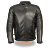 Mens Motorcycle Premium Biker Riding Tall Leather Jacket with Kidney padding back