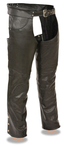 "Men's Motorcycle classic Tall leather chap with Jean pockets 4"" Longer tall riders"