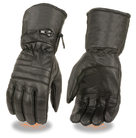 Motorcycle men's butter soft Guantlet Long leather gloves with rainmitton