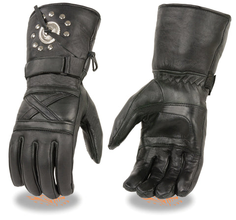 Men's Biker Riding Motorcycle Long Guantlet Leather gloves with Conchos and Studs