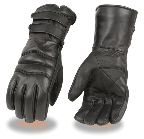 Motorcycle men's butter soft Guantlet leather gloves with 2 Straps Blk