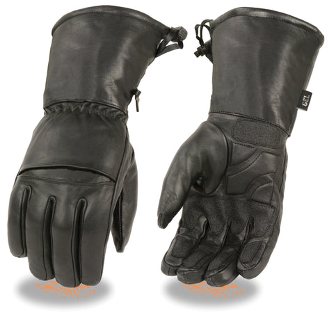 Men's Biker riding drawstring long guantlet blk sure grip leather gloves