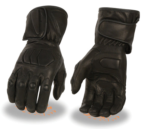 Men's Motorcycle butter soft long waterproof gel palm padded knuckle leather gloves