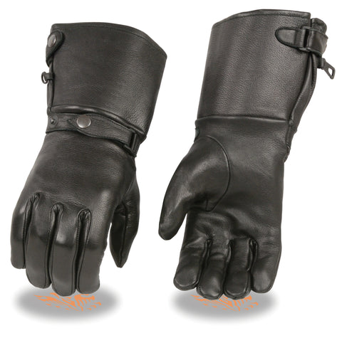 MEN'S GENUINE LEATHER AMERICAN DEER SKIN GUANTLET ULTRA LONG GLOVES. BUTTER SOFT