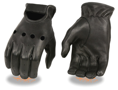 Men's Deer skin unlined driving leather gloves with knuckle cuts out & wrist strap