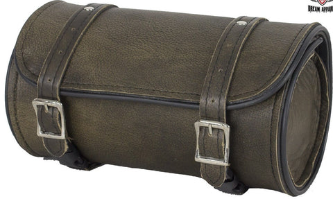 Motorcycle riding Distressed dark brn real leather toolbag with quick release