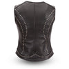 Motorcycle riding ladies front zipper leather vest with rivet detailing on back