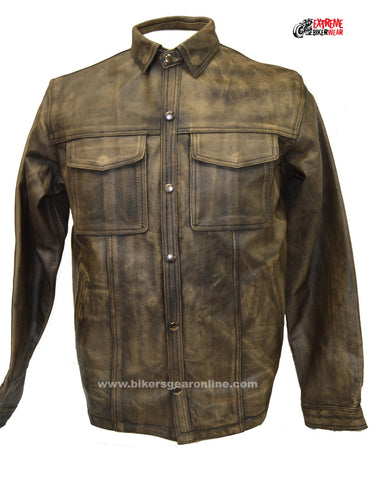 Men's Motorcycle Distressed Brn Leather Shirt with 2 Gun pockets
