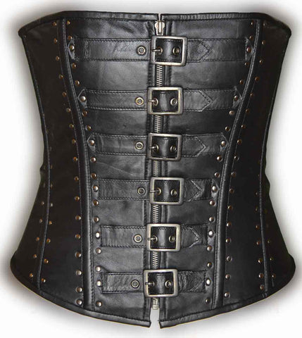 Women's Blk Sexy Bustier Leather Corset Lingerine with 6 front buckles and studs