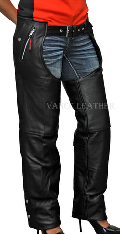 Men's motorcycle soft leather removable liner leather chap with 4 Pockets