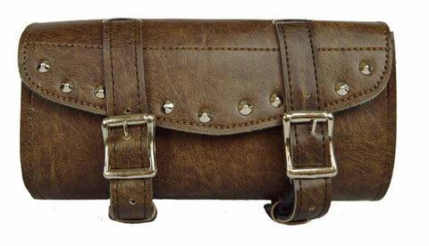 Motorcycle riding Biker Distressed dark brn 2 Strap studed toolbag with quick release