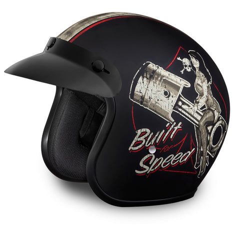 Mens Motorcycle Light weight DOT Dull Finish Daytona Built for speed Blk with Visor