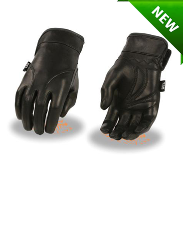 Motorcycle Ladies Soft Blk leather guantlet gloves with gel palm