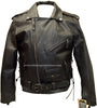 Men's Motorcycle Side lace police style leather jacket Live to ride embossed back