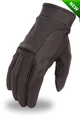 Men's Motorcycle butter soft gel palm cruiser lined leather gloves with velcro