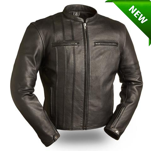 Men's Motorcycle Classic Cafe fitted scotter biker leather jacket