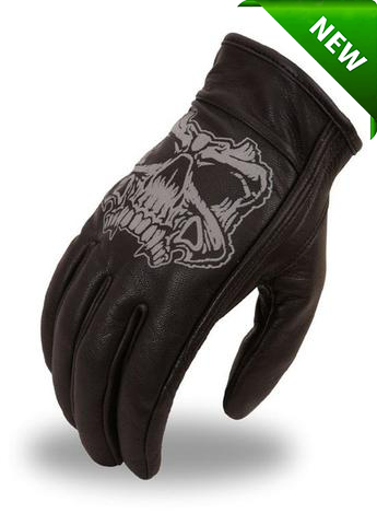 Men's Motorcycle butter soft gel palm reflective skull leather gloves
