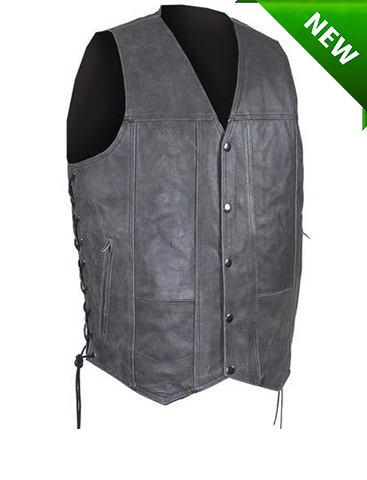 Men's Motorcycle Riding Distressed Grey 10 pocket leather vest single panel back