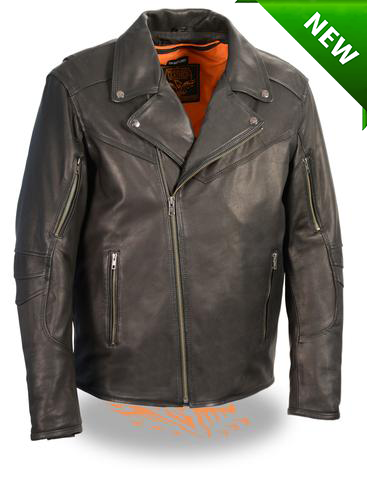 Men's Motorcycle Triple stitch updated police style leather jacket with vents