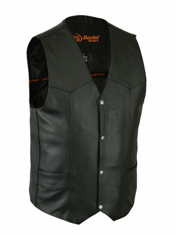 Mens Motorcycle Basic Plain Traditional Classic Blk Leather Vest cheap price