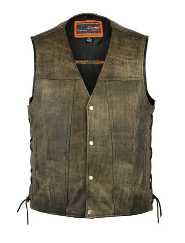 Mens Distressed Brn Antique Look Gambler premium leather vest