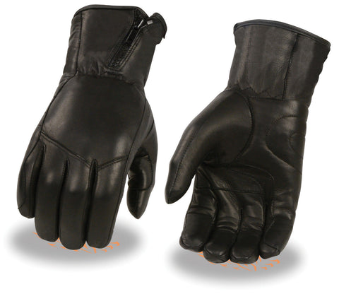 Motorcycle Men's butter soft long leather gloves with side set zipper cuff Lined