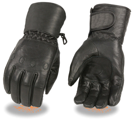 Motorcycle Men's Long soft leather waterproof guantlet gloves with cinch wrist