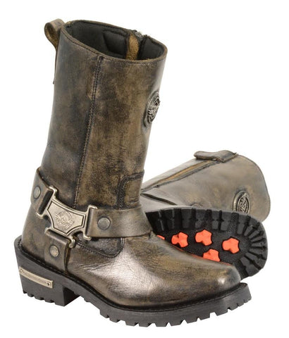 Womens Motorcycle Distressed Brn Leather T Shape Boot with Side Zipper