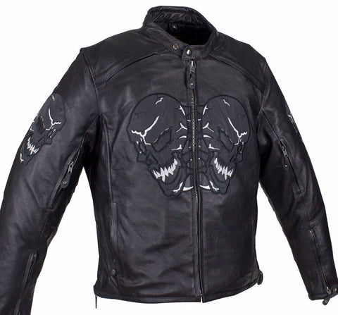 Men's Motorcycle Front Back Reflective Skull Leather jacket