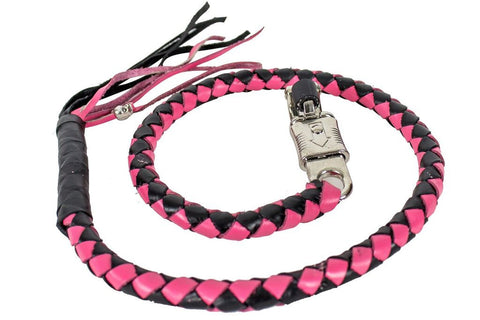 "Motorcycle 42"" Pink & Blk Braided Biker old school get back Leather whip"