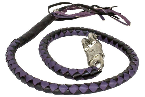 Motorcycle Blk/Purple Braided Biker Old school get back whip