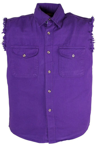 Men's Motorcycle Purple Cotton Half Sleeve Cut off shirt with fryed sleeves