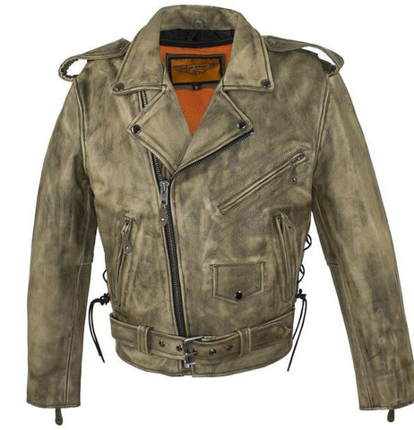MEN'S MOTORCYCLE CLASSIC POLICE DISTRESSED STYLE WITH LACES