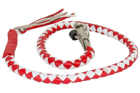 "Motorcycle 42"" Red & White Braided Biker old school get back Leather whip"