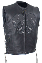 Men's Motorcycle Reflective Skull Leather blk vest w/2 gun pockets