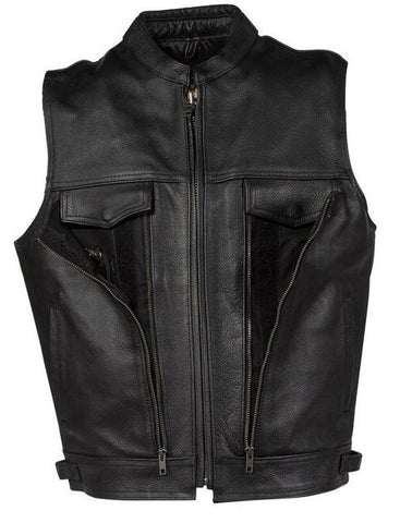 MENS LEATHER MOTORCYCLE VEST WITH 2 FRONT PISTOL PETE GUN POCKETS