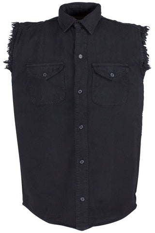 Men's Motorcycle Blk Cotton Cut off Frayed Sleeveless Shirt