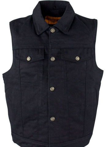 Men's Motorcycle 6 pocket blk denim vest with shirt collar & single panel back