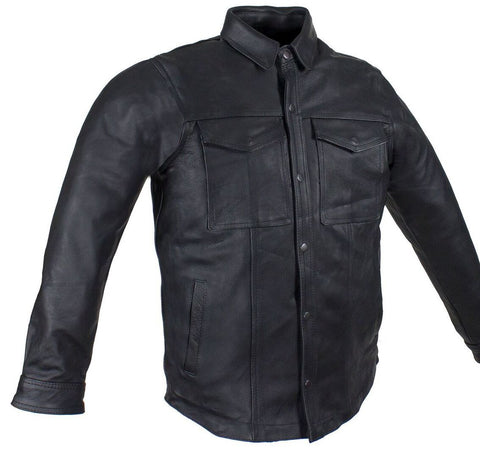 Men's Blk Motorcycle Leather Shirt with 2 chest pockets