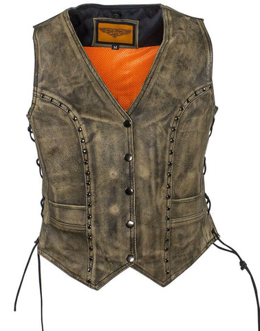 WOMEN'S MOTORCYCLE DISTRESSED STUDED LACE SIDE VEST WITH 2 GUN POCKETS